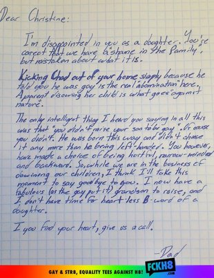 Father Disowns Homophobic Daughter in Epic Letter